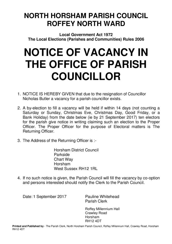 Vacancy Notice North Horsham - Roffey North 010917