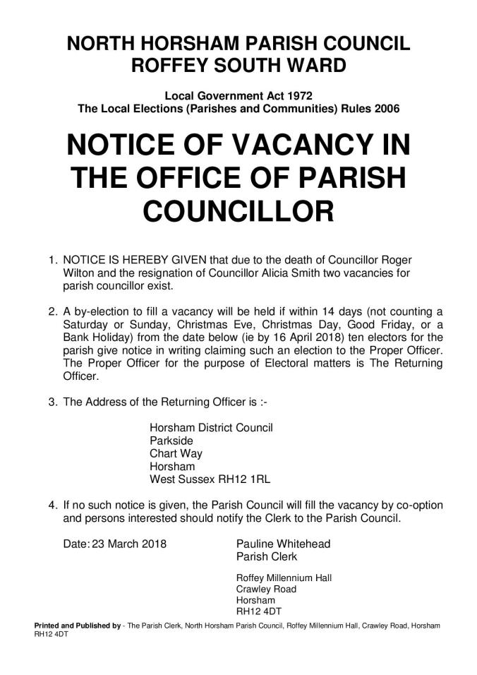 Vacancy Notice North Horsham - Roffey South 230318 (2)