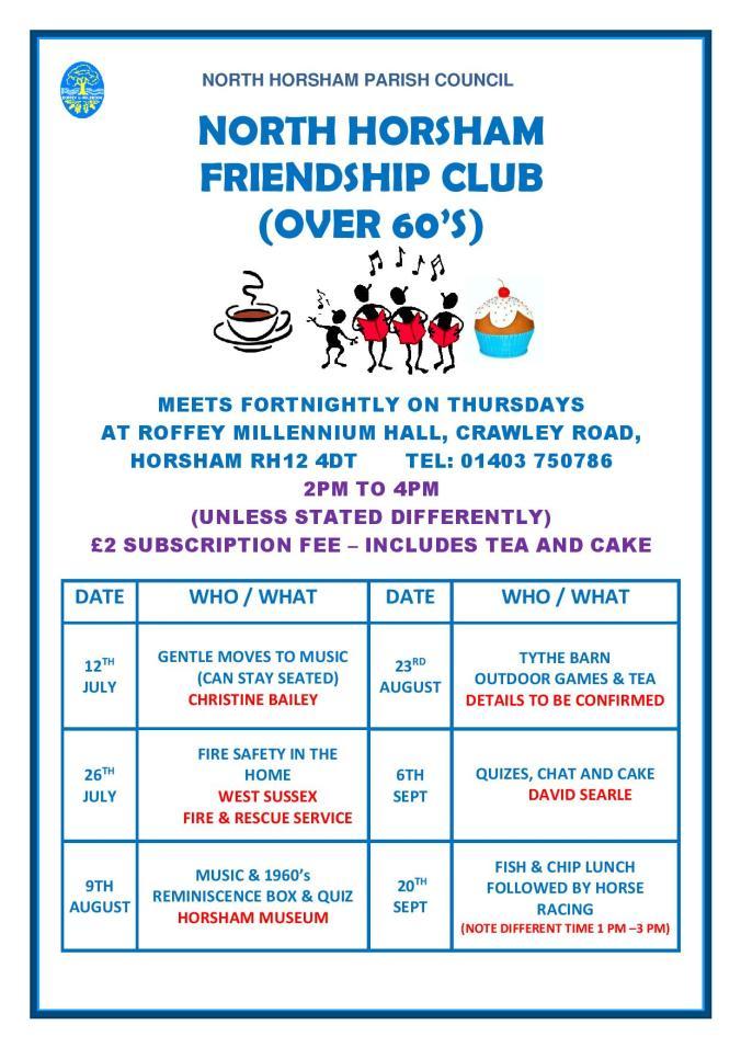 North Horsham Friendship Club - Activities