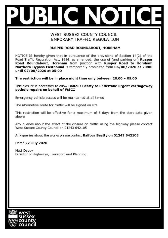 28 Day Safety Plus ROAD CLOSURE Public Notice Rusper Road Roundabout Horsham