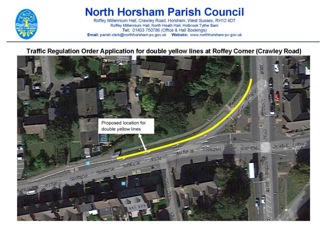 Location - Traffic Regulation Order Application for double yellow lines at Crawley Road-Roffey Corner