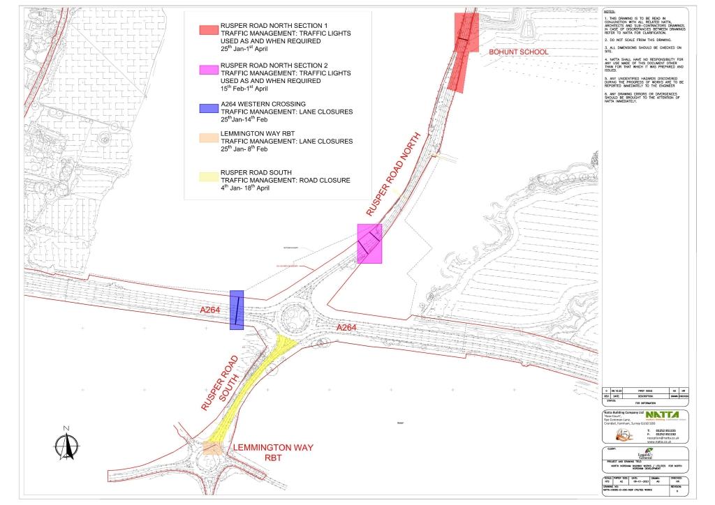 A264/Rusper Road works map